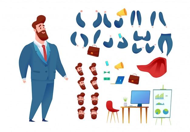 Conjunto de animación de hombre de negocios super héroe capa