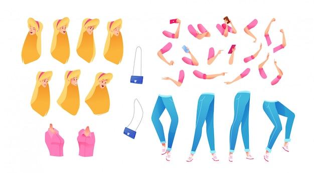 Conjunto de animación joven atractiva. lindo kit de creación de personajes femeninos