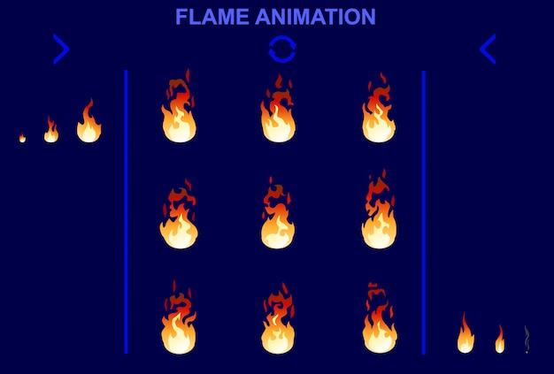 Conjunto de animación de llama de fuego brillante