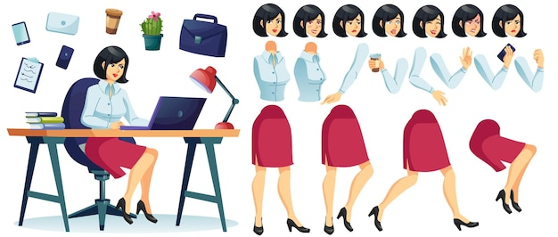 Conjunto de animación de personajes de mujer de negocios de dibujos animados de vector, niña sentada en la mesa de escritorio trabajando en equipo portátil