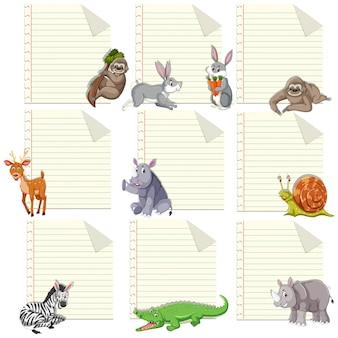 Conjunto de animal en plantilla de nota
