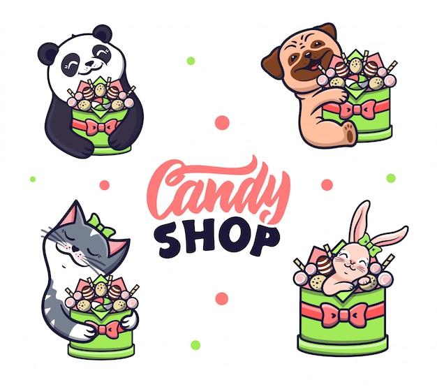 Conjunto de animales abrazando una caja de dulces.