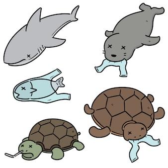 Conjunto de animales acuáticos y plásticos.