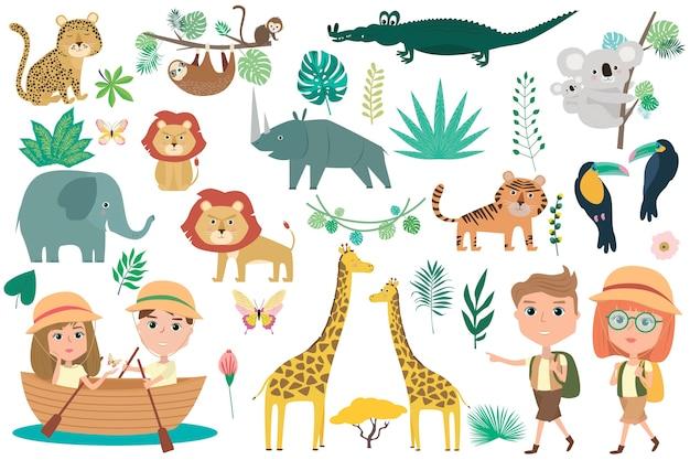 Conjunto de animales africanos, plantas y carácter viajero.