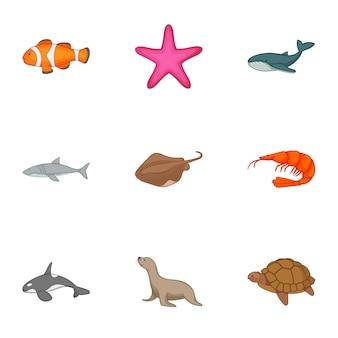 Conjunto de animales bajo el agua, estilo de dibujos animados