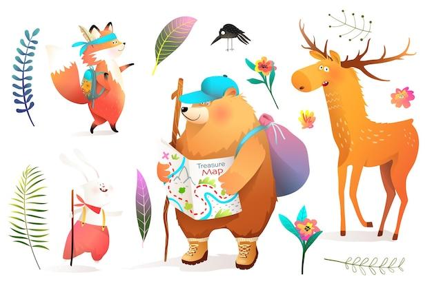 Conjunto de animales en aventura en la naturaleza.