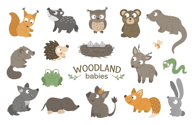Conjunto de animales bebé bosque plano dibujado a mano.