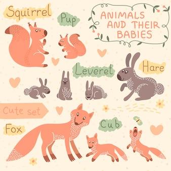 Conjunto de animales de bebé y mamá. ardilla, liebre, zorro.
