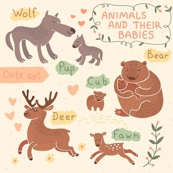 Conjunto de animales de bebé y mamá. lobo, oso, ciervo.