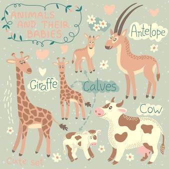 Conjunto de animales de bebé y mami