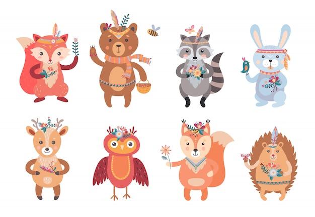 Conjunto de animales boho de dibujos animados