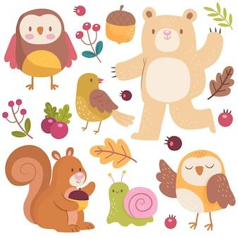 Conjunto de animales del bosque dibujado a mano