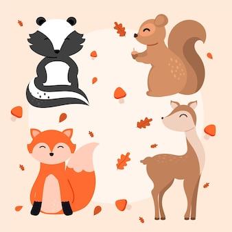 Conjunto de animales bosque otoñal dibujado a mano