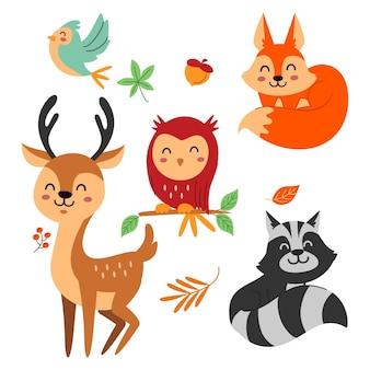 Conjunto de animales de bosque otoñal de diseño plano