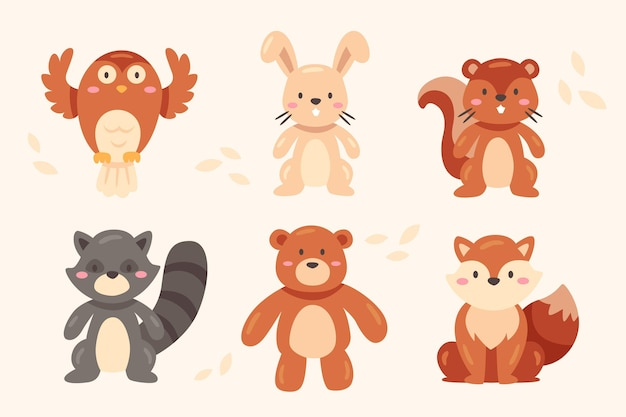Conjunto de animales del bosque otoñal
