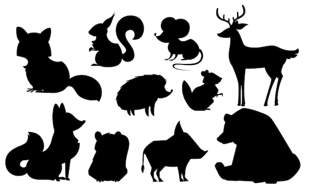 Conjunto de animales de bosque silueta negra mamíferos depredadores y herbívoros