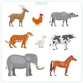 Conjunto de animales ciervo, tigre, elefante, búfalo, vaca, caballo, pollo, pato s plano aislado sobre fondo blanco. ilustraciones premium