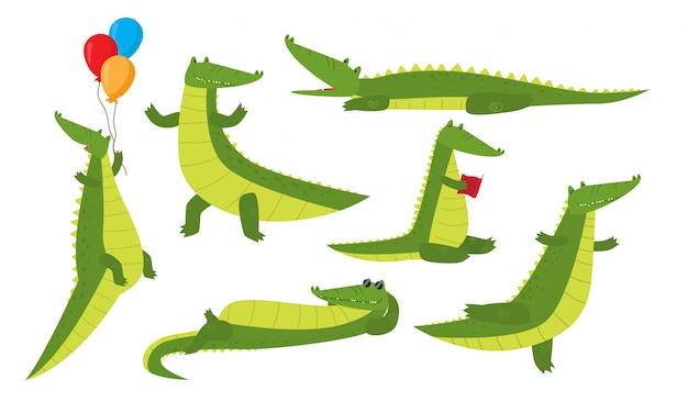 Conjunto de animales de cocodrilo gracioso lindo aislado disfrutando de la vida y sentirse feliz