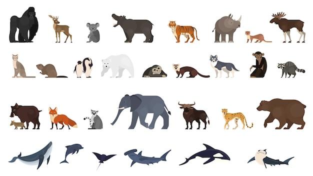 Conjunto de animales. colección de animales exóticos y salvajes.