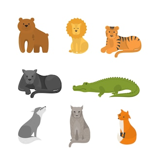 Conjunto de animales depredadores. colección de mamíferos salvajes peligrosos. zorro y león, tigre y oso. ilustración