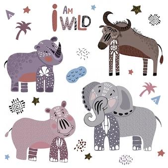 Conjunto de animales de dibujos animados africanos en blanco