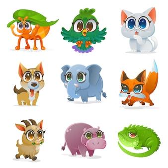 Conjunto de animales de dibujos animados, ilustración vectorial