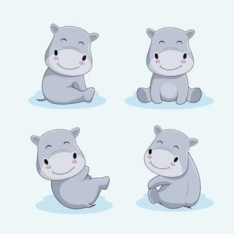 Conjunto de animales de dibujos animados lindo hipopótamo