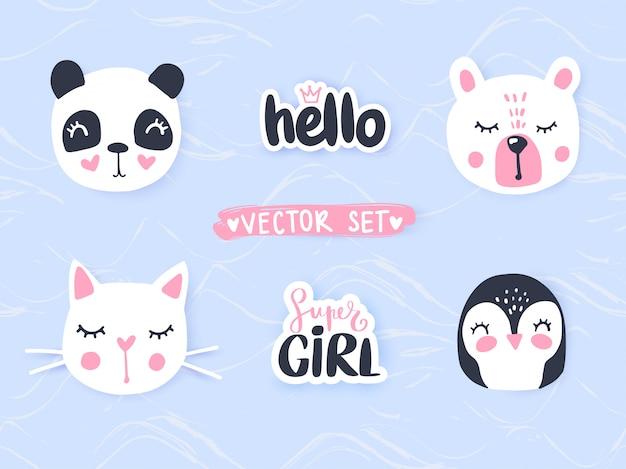 Conjunto con animales de dibujos animados panda, gato, oso, conejito. adorables animales e inscripciones.
