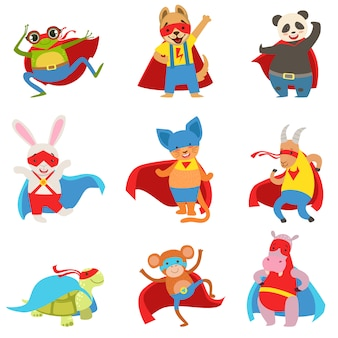 Conjunto de animales disfrazados de superhéroes con capas y máscaras