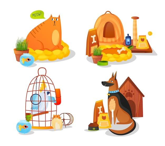 Conjunto de animales domésticos y equipamiento para mascotas aislado en blanco