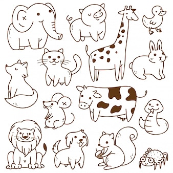 Conjunto de animales doodle aislado