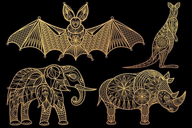 Conjunto de animales elefante, rinoceronte, canguro, murciélago.