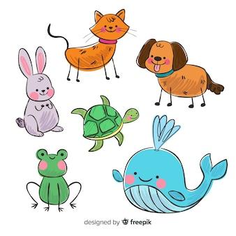 Conjunto de animales en estilo infantil