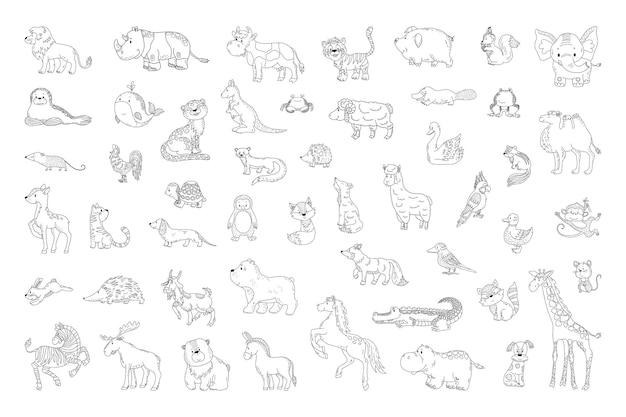 Conjunto de animales en un estilo lineal.