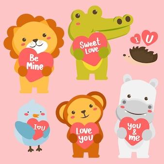 Conjunto de animales felices en estilo de dibujos animados con tarjeta de felicitación de amor. celebrando el día de san valentín