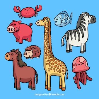 Conjunto de animales felices