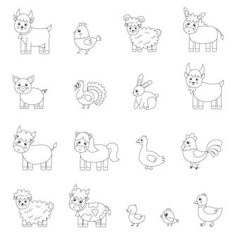Conjunto de animales de granja en blanco y negro. página para colorear para niños.