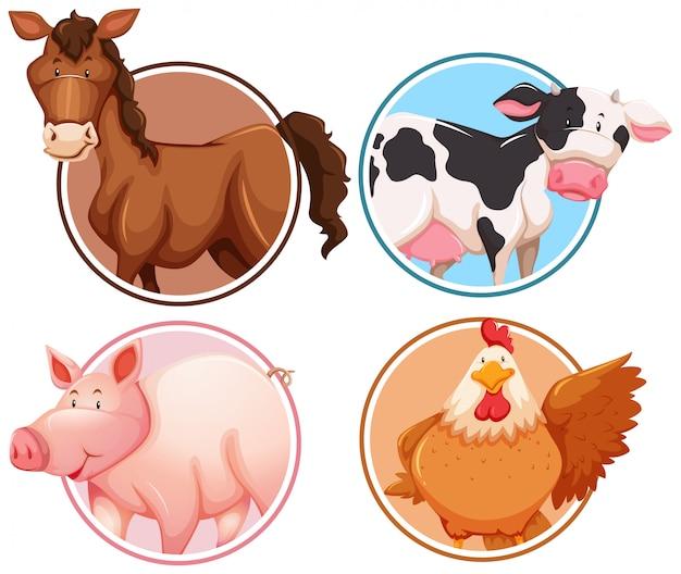 Conjunto de animales de granja en el fondo del círculo