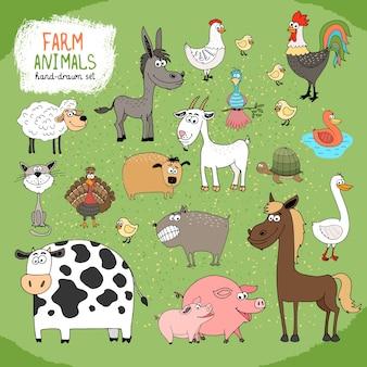Conjunto de animales de granja y ganado dibujados a mano.