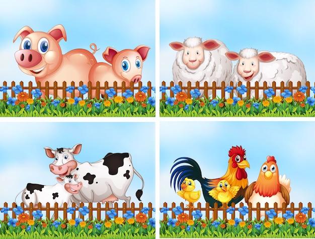 Conjunto de animales de granja