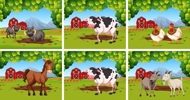 Conjunto de animales en las granjas.