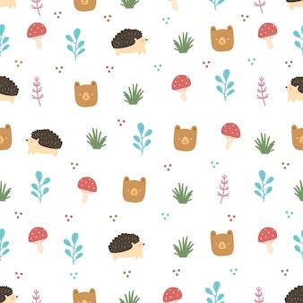 Conjunto de animales y hojas de bosque de patrones sin fisuras
