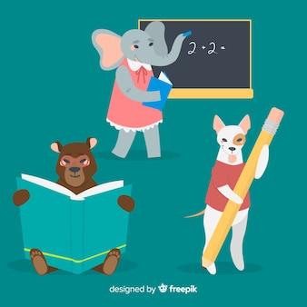 Conjunto de animales ilustrados en la escuela