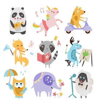 Conjunto de animales infantiles lindos