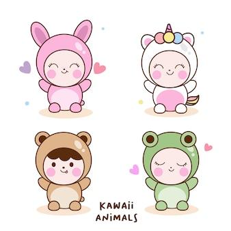 Conjunto de animales kawaii