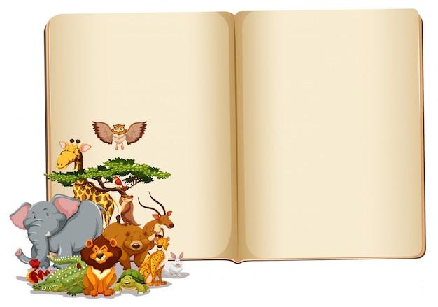 Conjunto de animales con libro en blanco.