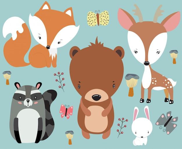 Conjunto de animales lindos bebé