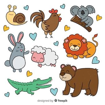 Conjunto de animales lindos dibujados a mano