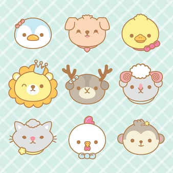 Conjunto de animales lindos de la historieta.
