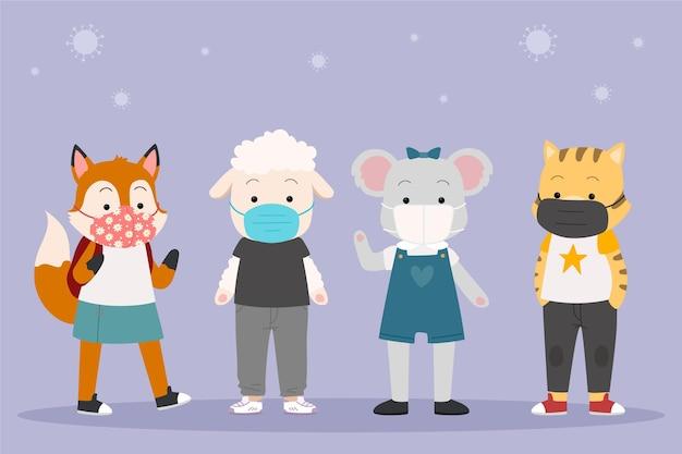 Conjunto de animales lindos con máscaras faciales.
